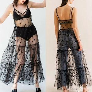 Black Mesh Stars Slip Dress